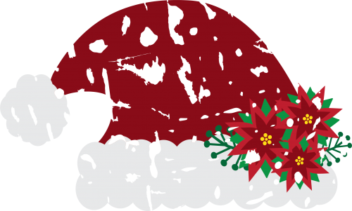 Santa Hat Distressed with Flowers