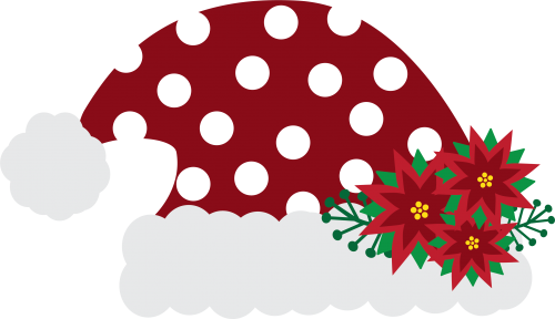 Santa Hat Polka Dot with Flowers