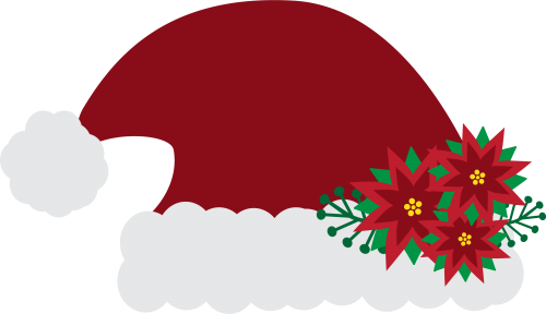 Santa Hat Solid with Flowers